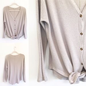 Oatmeal Gray Waffle Knit Tie-Knot Button Down Top